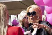 WARSAW, POLAND, September 8:Well known polish presenter Agata Młynarska on the 15th Pink Ribbon Walk against the Breast Cancer september 8, 2012 in Warsaw, Poland. — Fotografia Stock