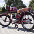 "Stock Photo: WARSAW - August 25: Old polish motorcycle ""WFM"" on motobazaar. August 25, 2013 in Warsaw, Poland."