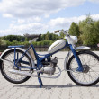 "Stock Photo: : WARSAW - August 25: Old polish motorcycle ""Komar"" on motobazaar. August 25, 2013 in Warsaw, Poland."