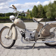 "Stock Photo: WARSAW - August 25: Old motorcycle ""Simson SR2"" on motobazaar. August 25, 2013 in Warsaw, Poland."