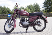 "WARSAW - August 25: Old polish motorcycle ""WSK"" on motobazaar. August 25, 2013 in Warsaw, Poland. — Stock fotografie"