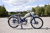 ": WARSAW - August 25: Old polish motorcycle ""Komar"" on motobazaar. August 25, 2013 in Warsaw, Poland. — Stock Photo"