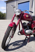 "WARSAW - August 25: Old polish motorcycle ""WSK"" on motobazaar. August 25, 2013 in Warsaw, Poland. — Stock Photo"