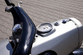 "WARSAW - August 25: Old polish motorcycle ""Gazela"" on motobazaar. August 25, 2013 in Warsaw, Poland. — Stock Photo"