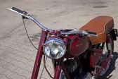 "WARSAW - August 25: Old polish motorcycle ""Jawa"" on motobazaar. August 25, 2013 in Warsaw, Poland. — Stock Photo"