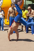 WARSAW, POLAND, june 8: Unidentified capoeira sportsmen on the XII Brazilian Festival on June 8, 2014 in Warsaw, Poland. — Zdjęcie stockowe
