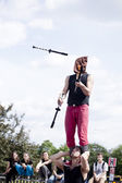 Warsaw, Poland - May 30: juggler taking part in the 18. Science Picnic , on may 30, 2014, in Warsaw, Poland — Stockfoto