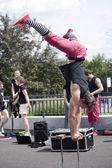Warsaw, poland - May 30: Artists perform in their acrobatic show at 18. Science Picnic, on May 30, 2014 in Warsaw. — Stock Photo