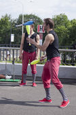 Warsaw, Poland - May 30: juggler taking part in the 18. Science Picnic , on may 30, 2014, in Warsaw, Poland — Stock Photo