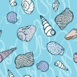 Seamless pattern with colorful sea creatures — Stockvectorbeeld