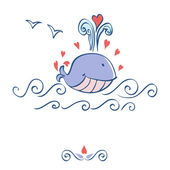Little illustrated whale with hearts card design — Stock Photo