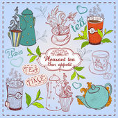 Cute hand drawn teapots, cups and cupcakes. — Stock Vector
