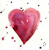Watercolor painted red heart — 图库照片
