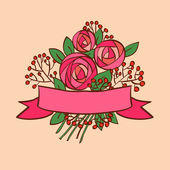 Vintage rose bouquet with ribbon — Stock Vector