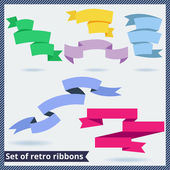Set of retro and flat ribbons — Stock vektor