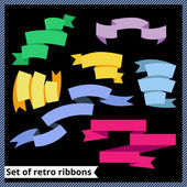 Set of retro and flat ribbons — Stock Vector