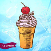 Doodle ice cream frozen dessert style sketch — Stock Vector