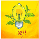 Lamp in the form of lemon. Idea. — Wektor stockowy