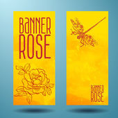 Banners with rose and dragonfly in doodle — ストックベクタ