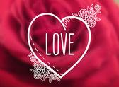 Desenho de coração, amor e rosas pequenas — Vetor de Stock
