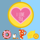 Icon set with tea in flat style — Stock Vector