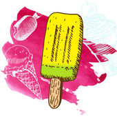 Doodle ice cream frozen dessert style sketch — Stock Vector