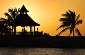 A Silhouette of Gazebo at Sunset — Stock Photo