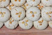 Homemade fresh tahini cookies on cutting board — Stock Photo