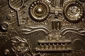 Un visage artistique fait de vieux jouets cassés — Photo