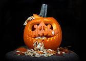 Scary Halloween pumpkin — Stock Photo