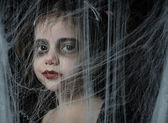 A girl with Halloween vampire make up — Stock Photo