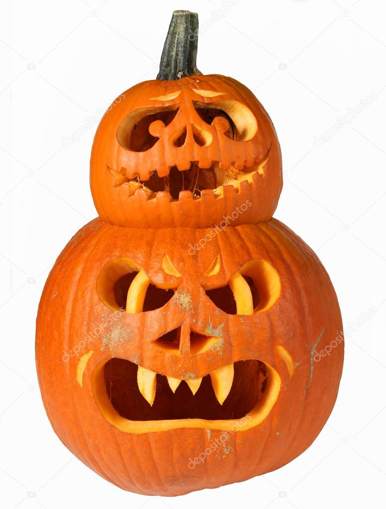 Scary halloween pumpkins Jack O Lanterns isolated on white background  — Stock Photo #15027233