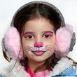 Stock Photo: Pretty girl with face painting of cat