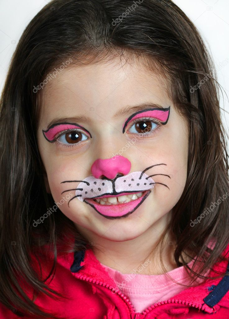 Simple Cat Face Painting For Halloween