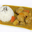 Stock Photo: Chicken curry with rice.
