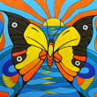 Original Painting on Canvas. Illusion of Butterfly Fish and Bird. — Stock Photo #19531461