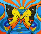 Original Painting on Canvas. Illusion of a Butterfly Fish and Bird. — Stock Photo