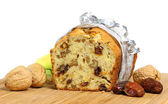 Homemade banana bread with walnuts and dates — Stock Photo