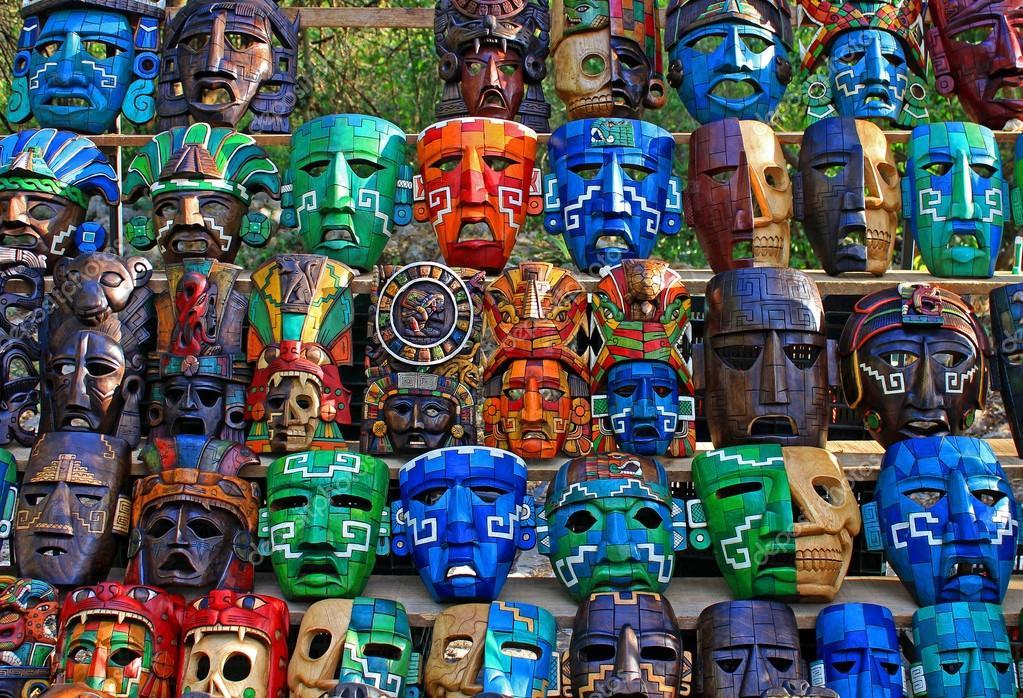 Mayas Masques Mayas Masques en Bois à Vendre