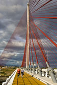 The cable-stayed bridge Talavera, with a dimension of 185 construction metra Height — 图库照片
