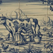 Tile, Talavera ceramics, farm work, milking the cow — Stock Photo