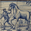 Tile, Talavera ceramics, farm work horse — Stock Photo
