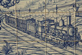 Tile, Talavera ceramics, Train — Stock Photo