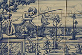 Tile, Talavera ceramics, fishing in the river — Стоковое фото