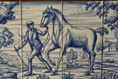 Tile, Talavera ceramics, farm work horse — Foto de Stock