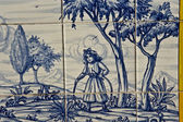 Tile, Talavera ceramics, Girl playing — Foto de Stock