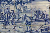 Tile, Talavera ceramics, playing boules — 图库照片