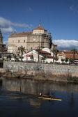 View of San Prudencio, Tagus River, canoeists, Talavera, Toledo — Stock Photo