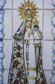 Talavera pottery, tiles, Virgin Mary with baby Jesus — Stock Photo