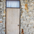 Royalty-Free Stock Photo: Wood door and stone of wall